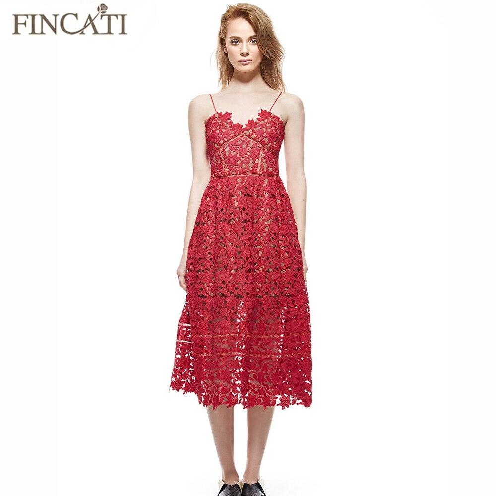 Summer Dresses Women 2017 High Quality Women s Sexy Spaghetti Strap Lace Mid Calf Dress V