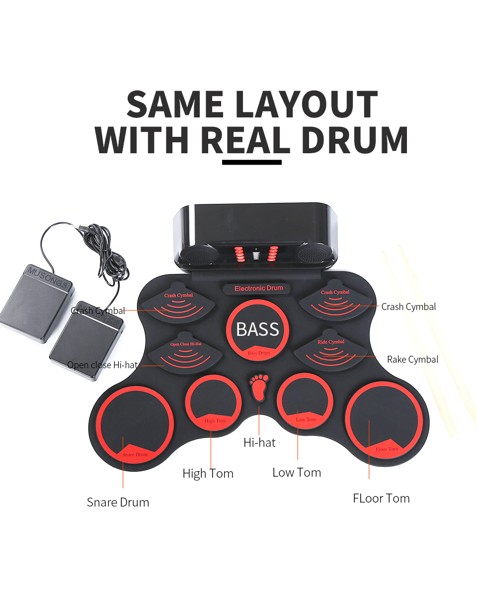 9 point Silicon pads de batterie Portable Électronique Roll Up ensemble d'instruments de batterie Avec Bâtons Foot Pédales Pour Enfants Adultes Débutant instrument de musique