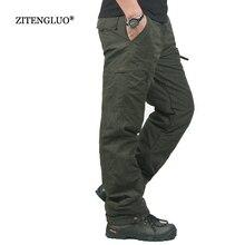 Inverno dupla camada grossa calças de carga masculina casual quente baggy algodão calças para calças masculinas camuflagem militar tático