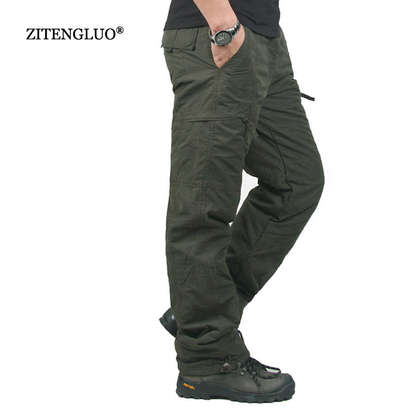 Winter Double Layer Thick Men Cargo Pants Casual Warm Baggy Cotton Trousers For Men's Pants Male Military Camouflage Tactical-in Cargo Pants from Men's Clothing    1