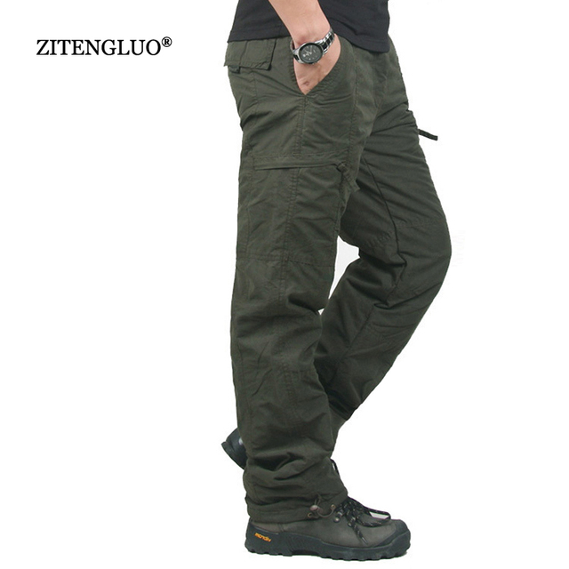 Winter Double Layer Thick Men Cargo Pants Casual Warm Baggy Cotton Trousers For Mens Pants Male Military Camouflage Tactical
