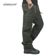 Zima Podwójna warstwa gruby mężczyźni Cargo Spodnie casual ciepłe baggy bawełniane Spodnie męskie Spodnie męskie kamuflaż wojskowy taktyczny tanie tanio Mężczyzn Pełna długość Połowie Polaru Luźne Y1007 Sukno Płaskie Poliester bawełna Spodnie cargo Brak Zamek błyskawiczny Fly