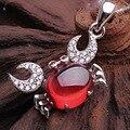 2015 new 925 Sterling Silver Natural semi-precious stone Garnet Necklace Pendant cartoon crab Korean fashion girlfriend gift