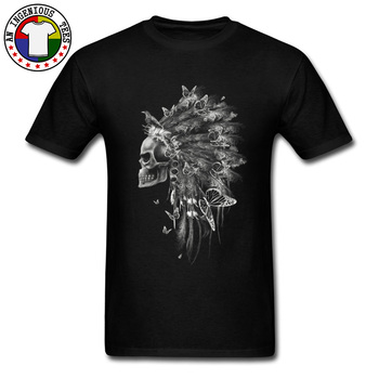 Newest Adult T-shirts Day of the Dead Skull Chief With Butterfly Image Print Great Tshirt Mens Summer Autumn Tops Tees On Sale