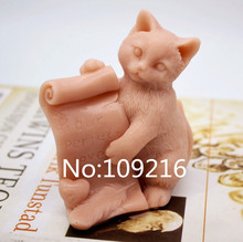 New Product!!1pcs 3D Reading Cat (zx208) Food Grade Silicone Handmade Soap Mold Crafts DIY Mould