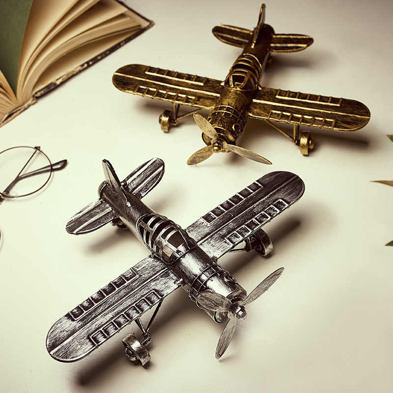 Retro Creative Iron Aircraft Home Accessories Restaurant LivingRoom Office Crafts Furnishings Ornaments Children Christmas Gift