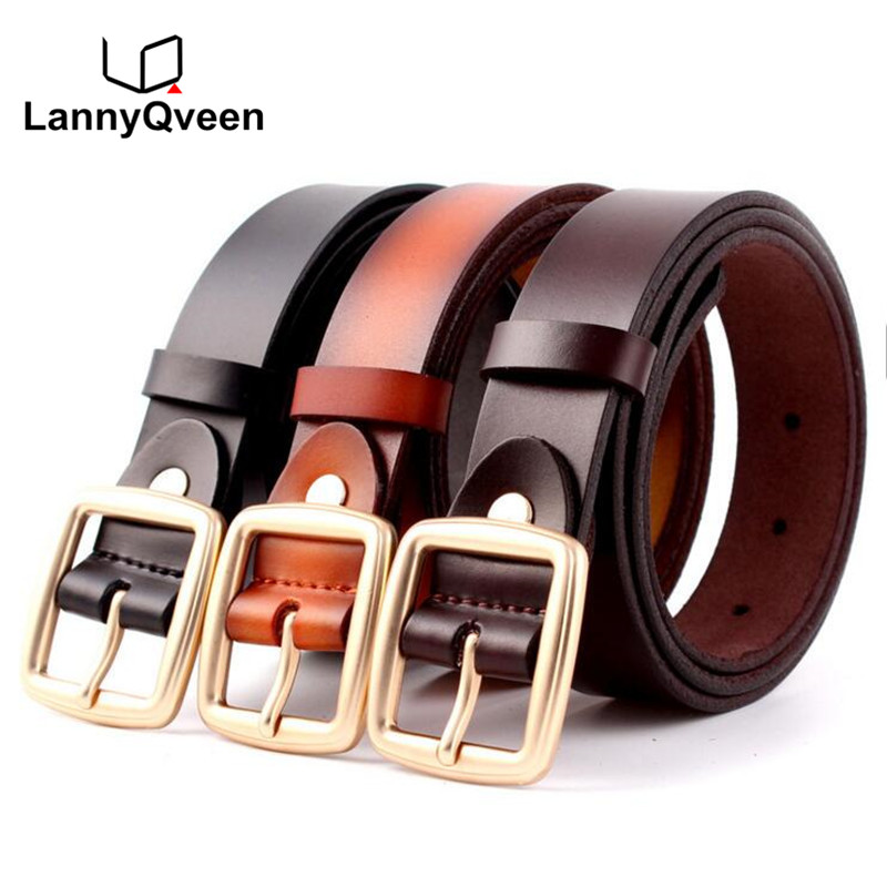 LannyQveen fashion new models pure cow leather   belt   women's pin buckle   belts   for women elegant female free shipping