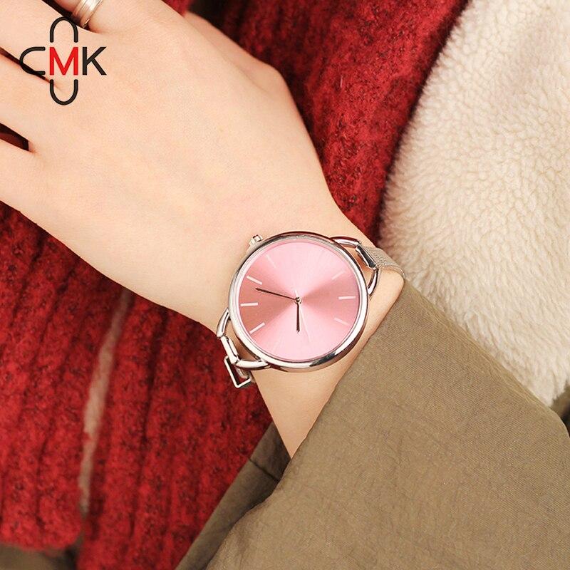 2018 ЦМК роскошный Европейский Стиль дамы Часы Нержавеющаясталь элегантный большой циферблат Для женщин часы повседневные платья женские наручные часы