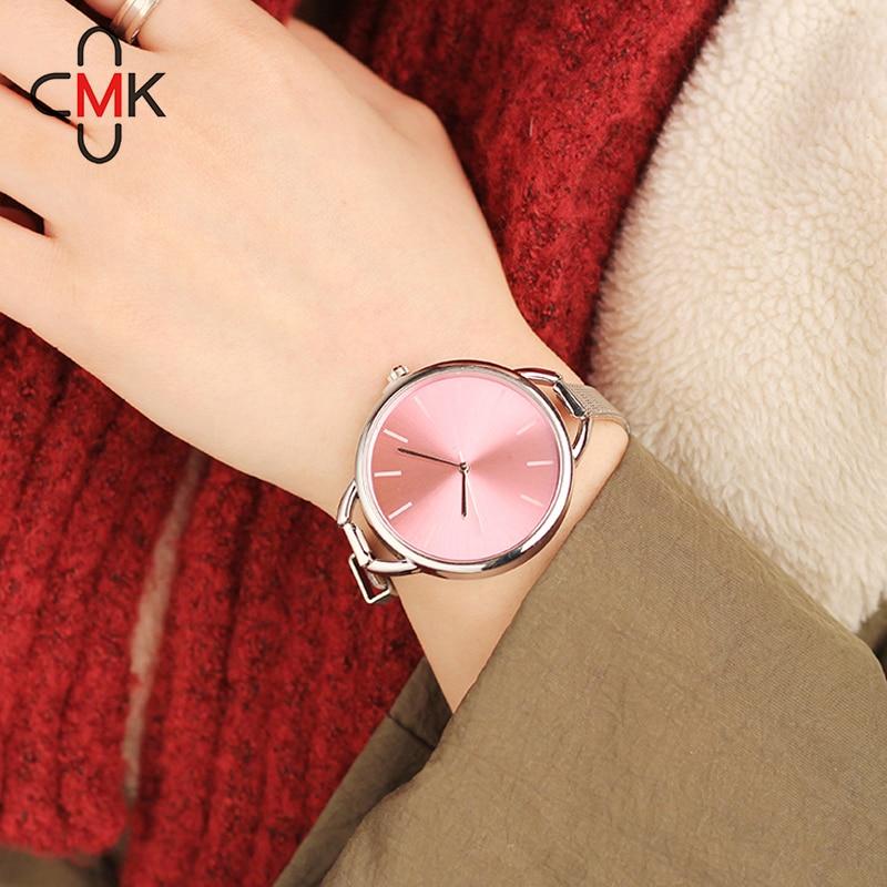 Hot CMK Luxury European Style Ladies Watches Stainless Steel Elegant Big Dial Women Watch Casual Dress Female wristwatch clock