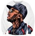 Harajuku sudaderas 3d Chris Brown camiseta carácter hip hop puente sudaderas jerseys plus size envío gratis