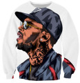 Harajuku sweatshirts 3d Chris Brown character sweatshirt jumper hip hop hoodies pullovers outerwear plus size Free shipping