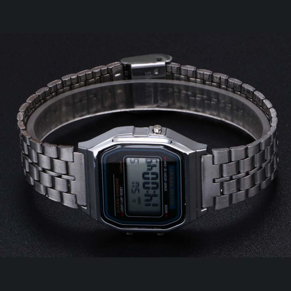 Elegant Women Retro Stainless Steel LCD Digital Sports Stopwatch Watch Silver in Quartz Watches from Watches