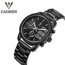 Cadisen Reloj de Los Hombres de Negocios 6 Punteros Auto Fecha Reloj de Cuarzo Banda de Acero Inoxidable Resistente Al Agua Relogio masculino Reloj Negro