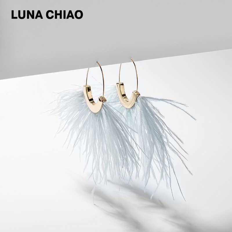 LUNA CHIAO 2019 Spring Summer New Fringed Feather Earring Big Size Fancy Drop Earrings Jewelry for Women