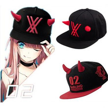 2018 Hot Anime Darling in the Franxx zero two 02 Cosplay Hat Cap Adjustable Props Accessories