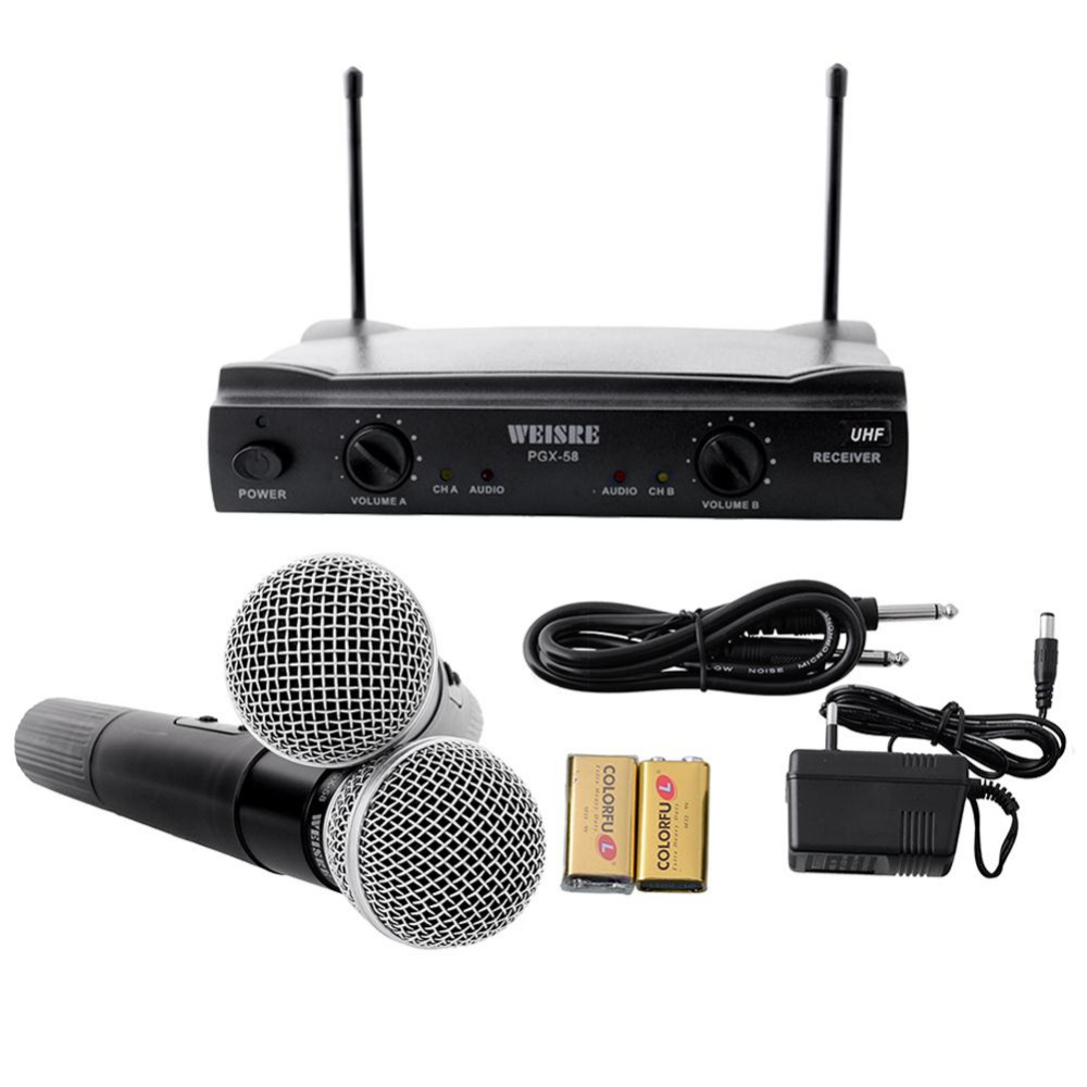 Hot UHF UT4 Dual Wireless Microphone Mic System Cordless 2 MIC Audio Karaoke Party KTV DJ Black High quality maikes new product durable genuine leather watch band 19mm 20mm 22mm black casual watch strap stainless steel buckle for tissot
