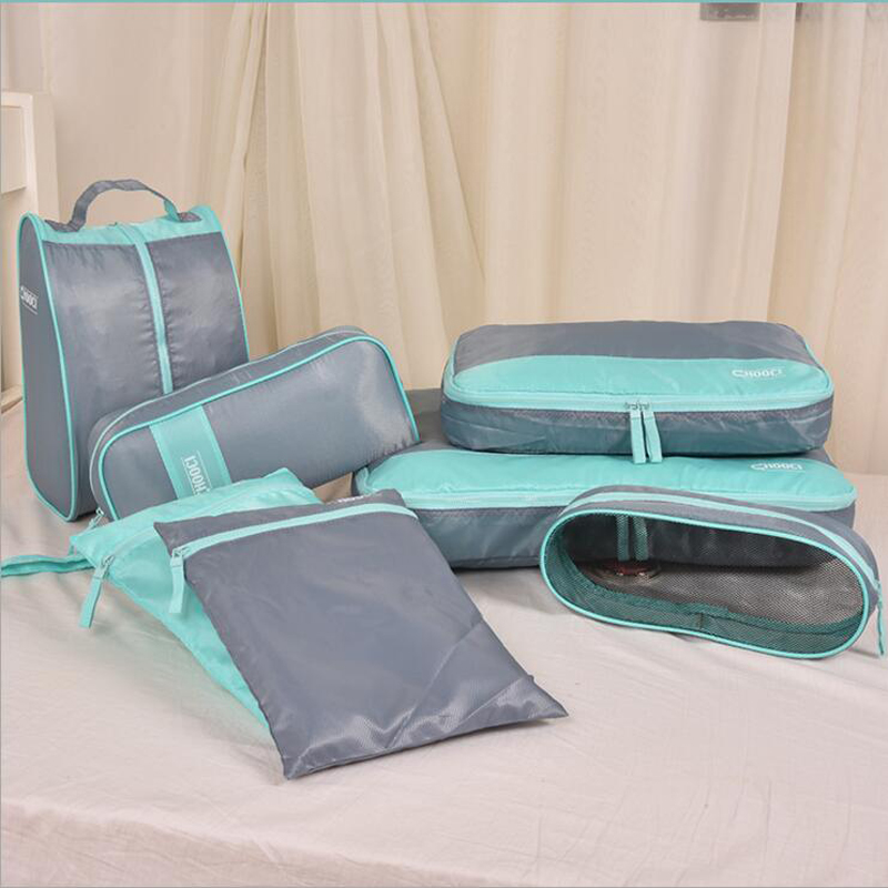 High Quality 7 Pieces Nylon Packing Organize Travel Bag One Set Luggage Storage Portable Durable Unisex Clothes Sorting Cube BagHigh Quality 7 Pieces Nylon Packing Organize Travel Bag One Set Luggage Storage Portable Durable Unisex Clothes Sorting Cube Bag
