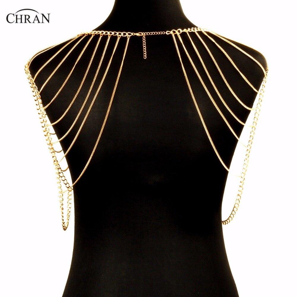 Chran Fashion Punk Sexy Shoulder Accessories Multi Tassel Necklace Gold Color Beach Chain Women Harness Party Jewelry CRBJ261