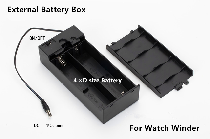 High Quality Watch winder External Battery Box Watch Winder Power Pack With 4 D size Battery R20 Battery | Watch Batteries
