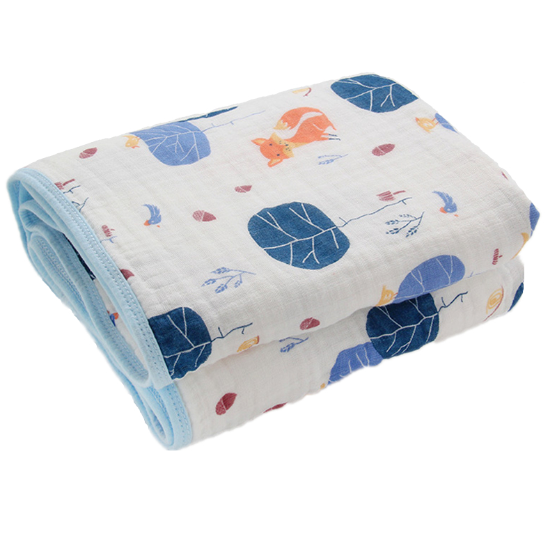 Baby Blanket Two Layers Newborn Muslin Cotton Swaddle Kids 115CM Swaddling Wrap Baby Bedding Fox Receiving blanket