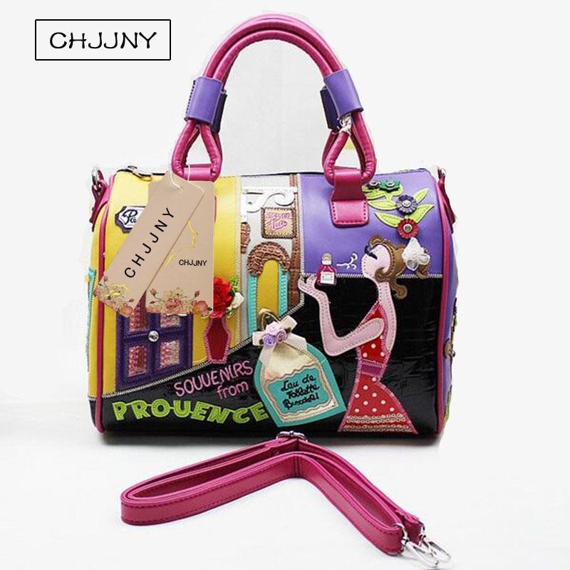 CHJJNY 2017 Італії відомий бренд Braccialini ж стиль Жіноча сумка ПУ шкіра Messenger хрест тіла жінок Сумка дорожні сумки