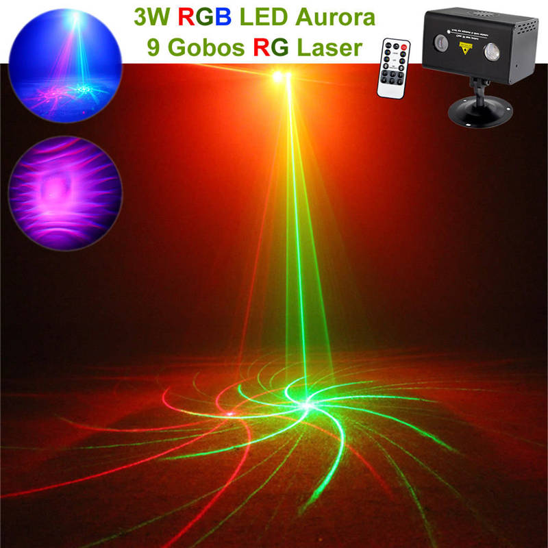 AUCD Mini Remote 9 RG Patterns Laser Lighting Water Galaxy RGB LED Stage Light Projector Mix Aurora Effect Party DJ Home LL-09RG rg mini 3 lens 24 patterns led laser projector stage lighting effect 3w blue for dj disco party club laser
