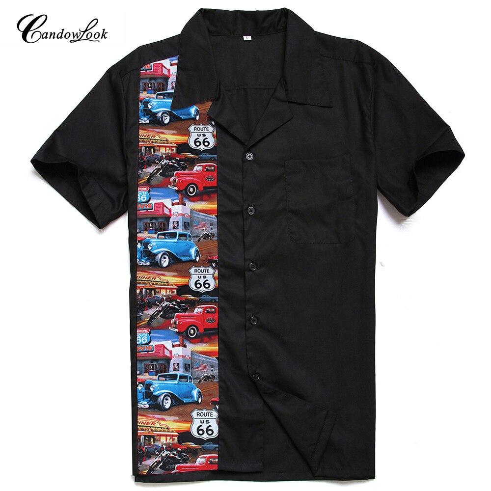 Candowlook Route 66 Us Printed Rockabilly Men Shirts Cotton Black