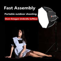 TRIOPO 55 cm Portable extérieur octogone parapluie Softbox pour Godox V860II TT600 TT685 YN560 III IV TR-988 Flash Speedlite boîte souple
