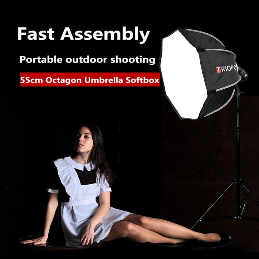 TRIOPO 55 cm portátil al aire libre Octagon Softbox paraguas para Godox V860II TT600 TT685 YN560 III IV TR-988 Flash Speedlite suave caja