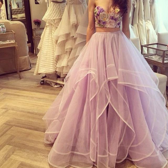 Roxo Duas Peças Prom 2017 Querida Lantejoulas Corpete Bordado Tulle Wedding Party Dress robe de bal de finissant