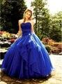 Moda azul royal Quinceanera vestido 2017 off ombro lace tule vestido de baile de tule vestido de debutante vestido 15 anos