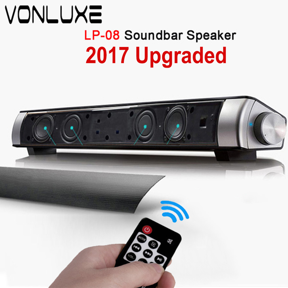 Upgraded HIFI Portable Bluetooth 10w Soundbar Remote Control Wireless Speaker Amplifier Stereo Sound Bar with Mic