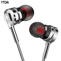 YTOM HIFI Metal Earphone Super Bass Earbuds With Microphone Noise Cancelling In Ear Headset DJ XBS