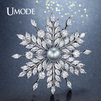 UMODE Fashon Cubic Zircon Snowflake Brooch For Women Wedding Pearl Brooch And Pins Luxury Austrian Crystal