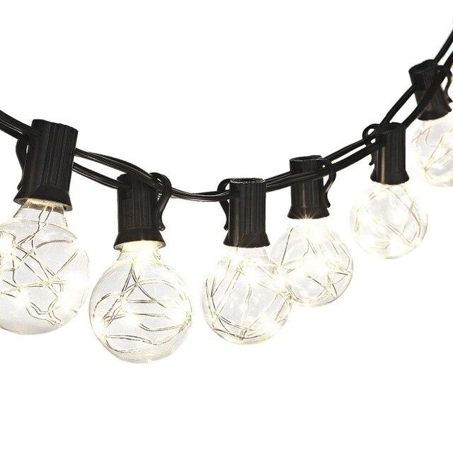 25pcs g40 copper bulb globe string lights outdoor indoor led ligh