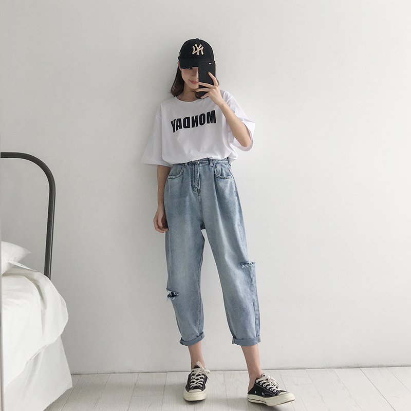 WQJGR 2018 Summer Holes Haren Pants Jeans Woman Easy Long Fund Loose And Comfortable Nine Part Pants 6
