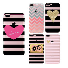 Hearts Black Stripes Loves Soft TPU Painted Phone Case For iPhone 7 7 Plus 6 6s Plus 5 5s SE Capa funda Hard cover cute cases