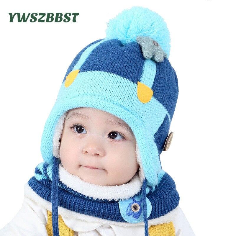 Baby Hat Fashion Baby Hat Scarf set Children Winter Hats for Girls Cotton Warm Knitted Beanie Cap fit 7 to 36 Months
