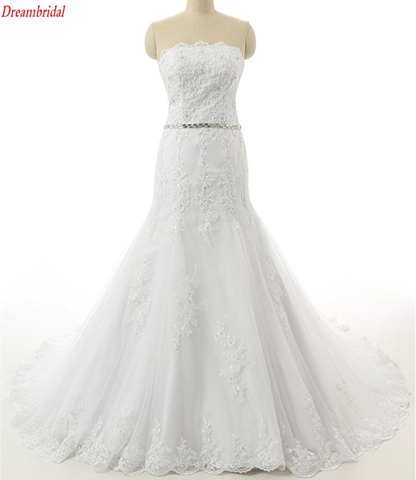 Dreambridal The latest in-kind pictures Elegant Applique seam bead Lace Mermaid Wedding Dress Bridal Gown
