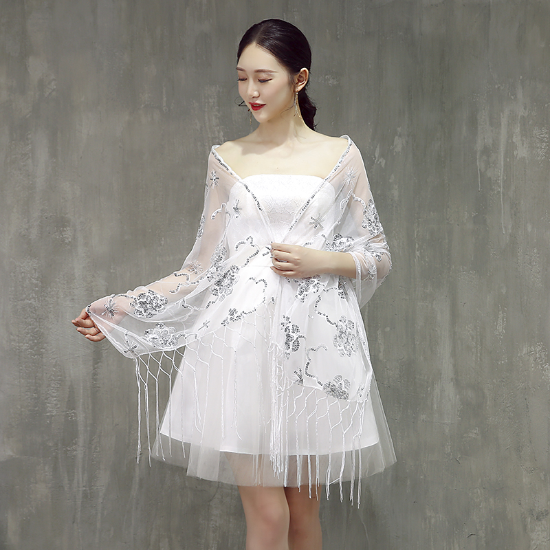 2019 Elegant White Tulle Sequin Beaded Shawls and   Wraps   Women Cape Vintage Mesh   Scarf     Wraps   for Dress