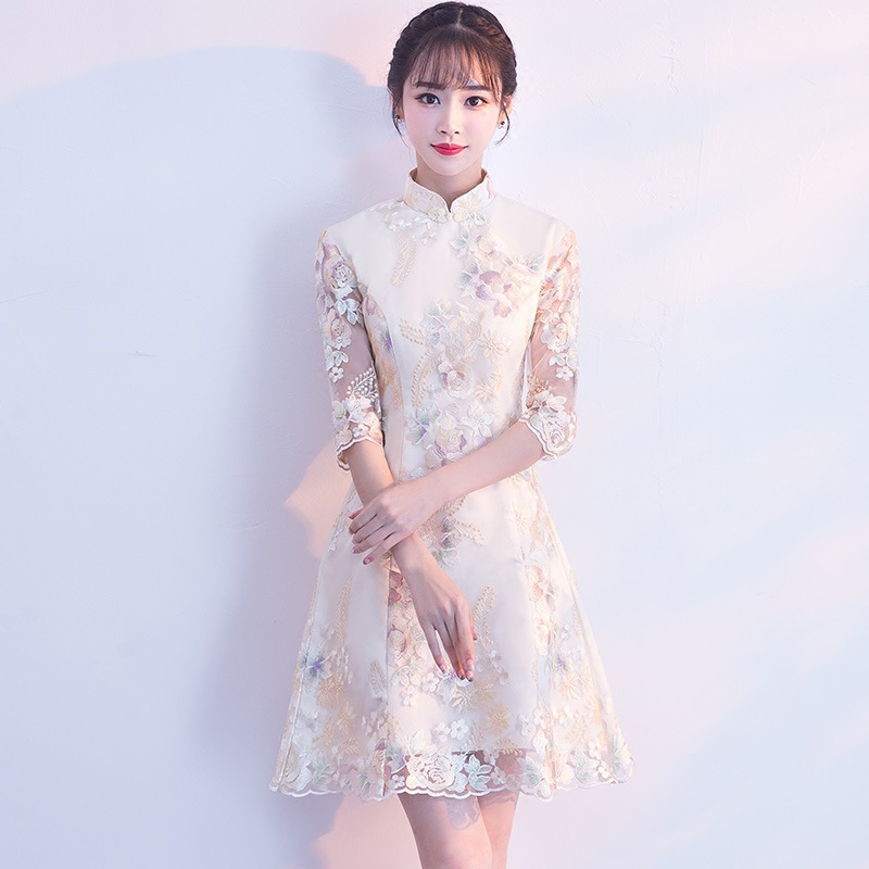 Chinese Style Wedding Mini Cheongsam Retro Sexy Slim Party Evening Dress Marriage Gown Qipao Vintage Lady