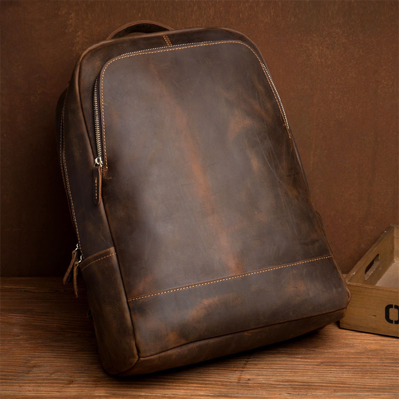 Men Large Capacity Backpack Genuine Leather Men's School Backpack Bags Mochila For Teenagers Vintage Travel Bag Shoulder Bag ozuko 14 inch laptop backpack large capacity waterproof men business computer bag oxford travel mochila school bag for teenagers