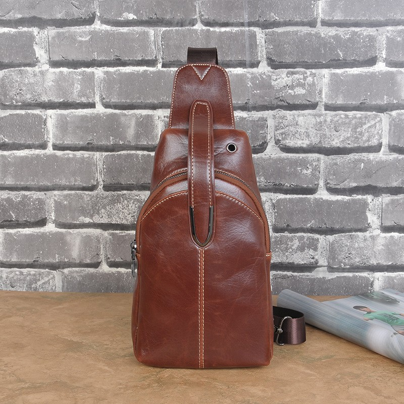 Men Faux PU Leather Chest Sling Bag Pack Fashion Male Casual Travel Cycling Crossbody Messenger Shoulder Money Bag Package (4)
