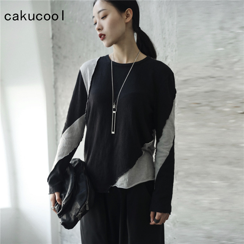 Cakucool New Harajuku tshirt Women Long Sleeve Spring Color Patch Casual Tee Shirt Ripped Novelty Design