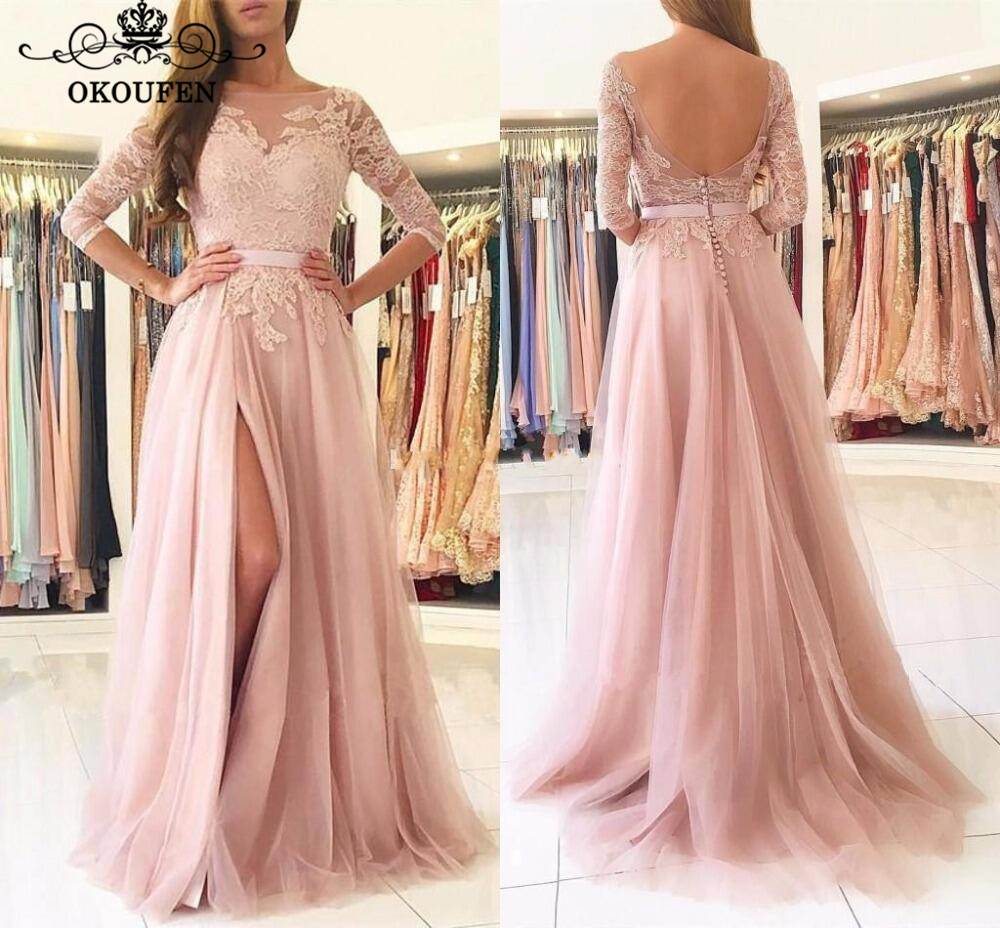 Pink Lace   Bridesmaid     Dresses   With 3/4 Long Sleeves 2019 Side Split Backless Sheer Neck A Line Maid Of Honor   Dress   Party Gown