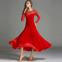 aff0c560d2 2018 Women Ballroom Dance Dress Velvet Sexy Standard Performance Dress  Competition Jazz Waltz Tango Fox Trot