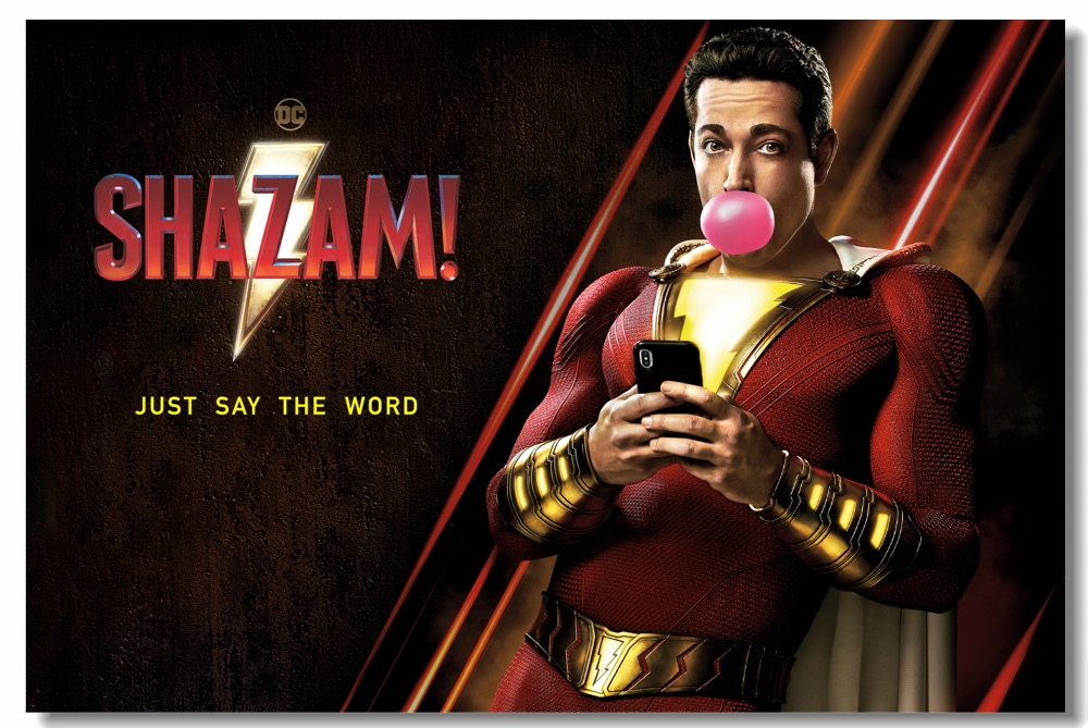 Us 575 28 Offcustom Printing Wall Mural Zachary Levi Funny Dc Superhero Poster Shazam Movie Wallpaper Office Wall Stickers Home Decor 0887 In