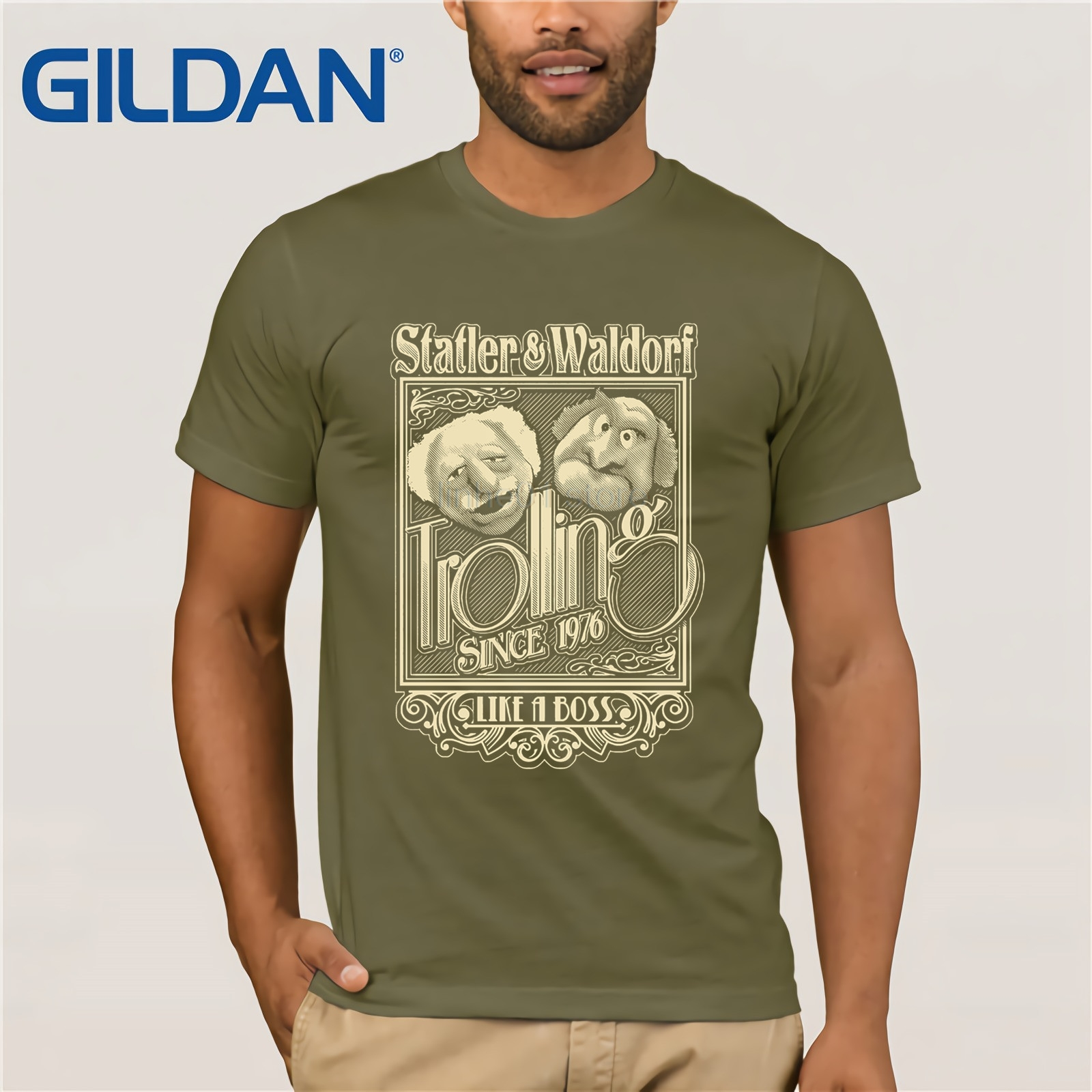 GILDAN The Muppets Hecklers Old Men Circle Image Statler and Waldorf T Shirt 2019 Man Soft Short Sleeve 100 Cotton Tee in T Shirts from Men 39 s Clothing