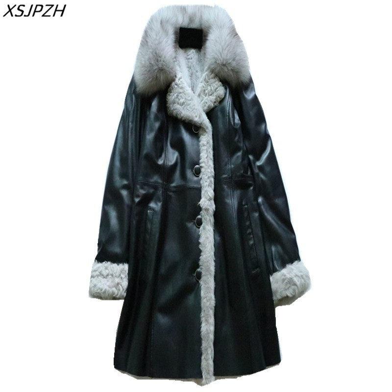 2018 Nouvelle Femmes Hiver Véritable veste en cuir décontracté col de fourrure manteau chaud Élégant en peau de Mouton Extérieure Cachemire Outwear Cacaso AC281