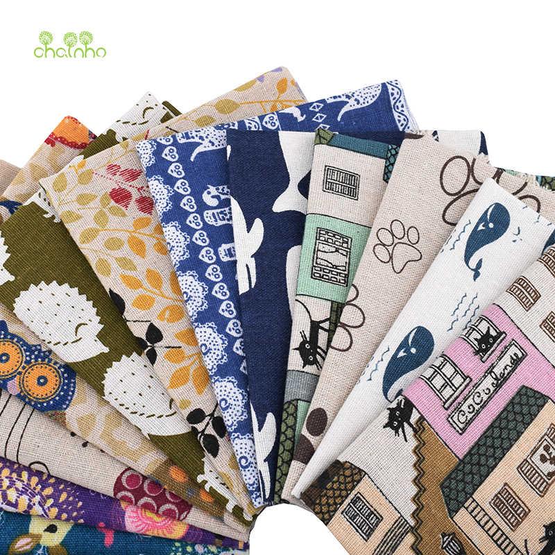 Chainho、 12 ピース/ロット、ランダムパターン、綿リネン生地、パッチワークの服diyのキルティング & 縫製プレイスマット、バッグ材料、 25x25cm